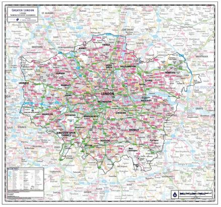 Greater London County Wall Map